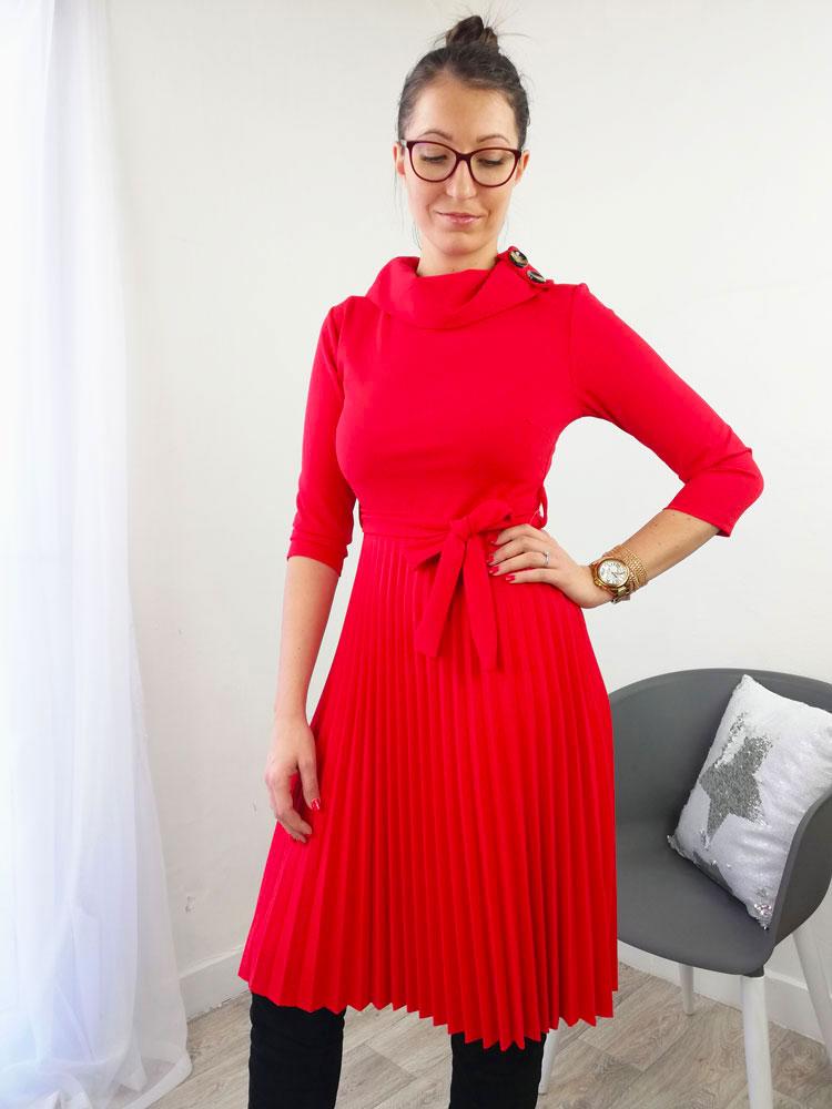 0446e507a69e Červené šaty s plisovanou sukňou NK-DRESS200-red