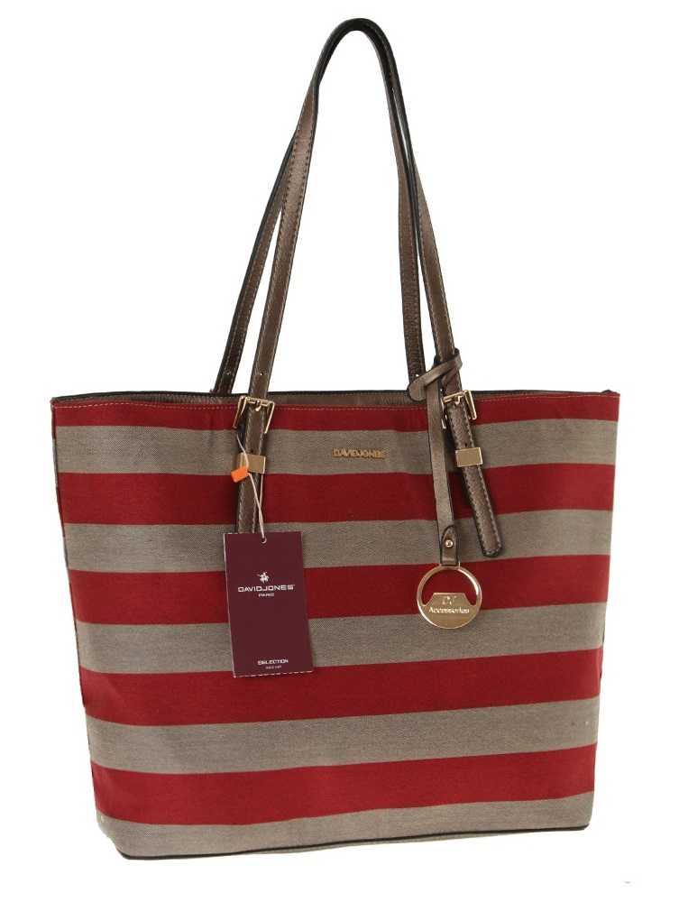 Trendy pruhovaný shopper David Jones CM2789-bordeaux
