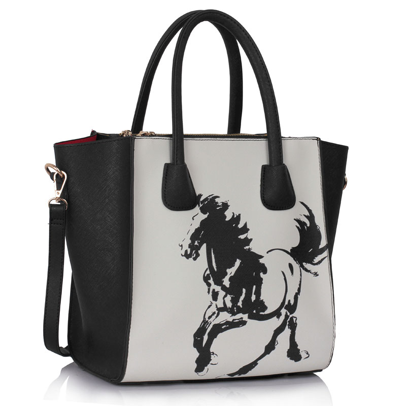 Kabelka do ruky Fashion DK0061A-black/white horse