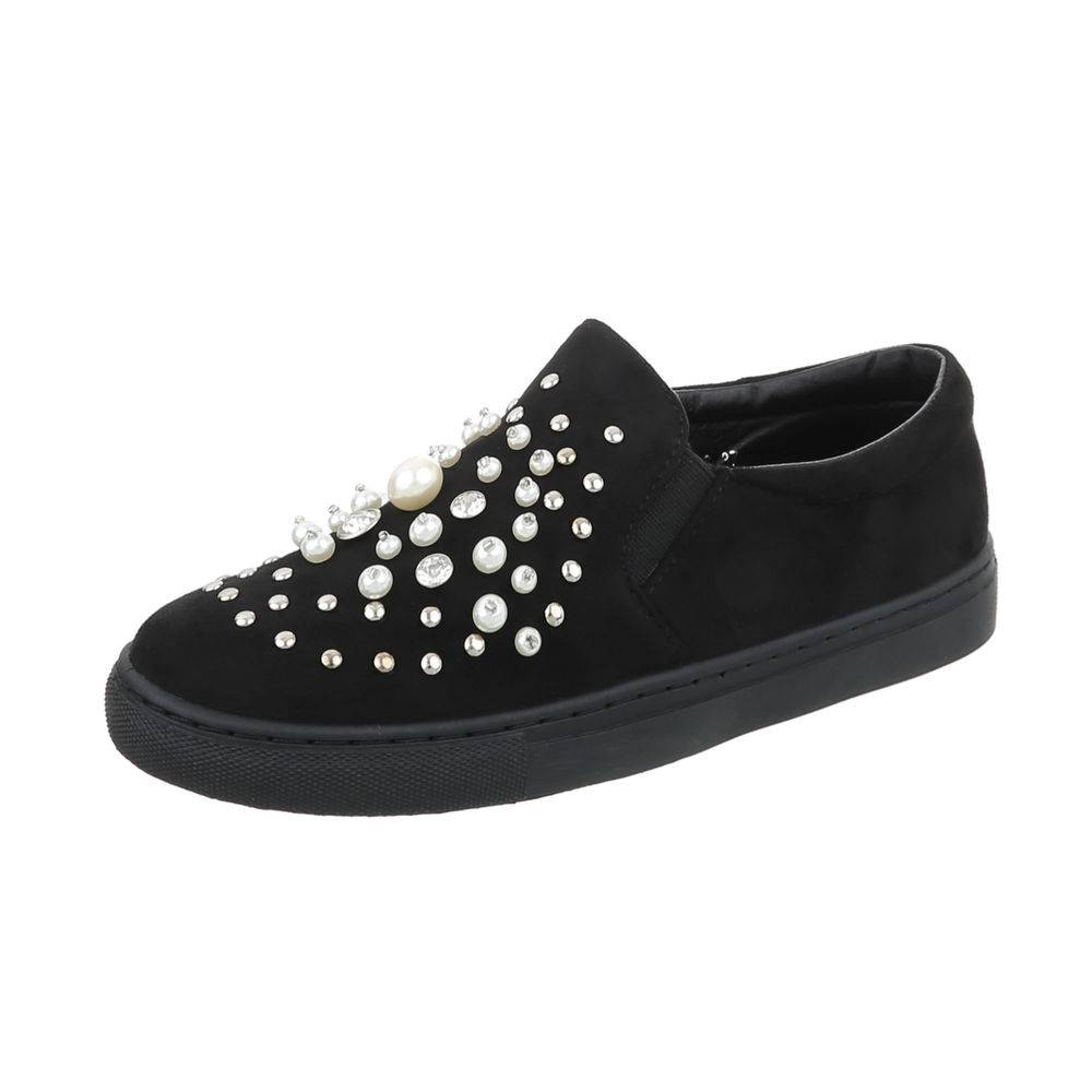 Slip-on s perličkami TOP-D-8-black