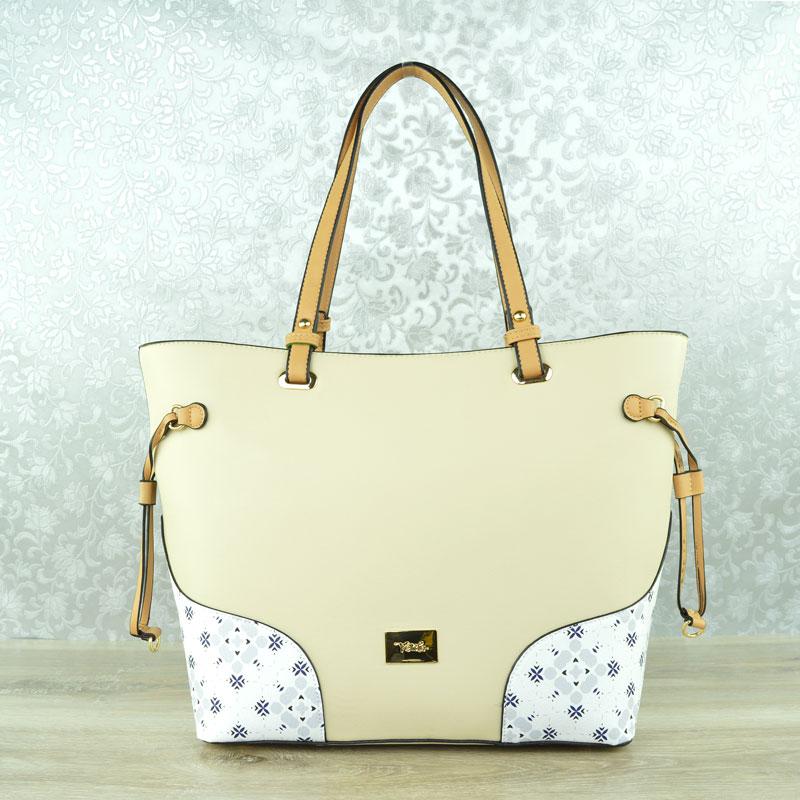 5bd7bfc00 Shopper kabelka s potlačou Verde VD-16-0004514-beige
