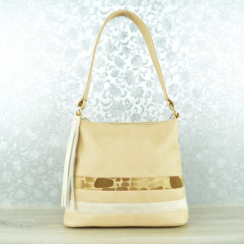 Menšia kombinovaná kabelka na rameno Laskara LK-11-10138-beige empty b52c8a17f67