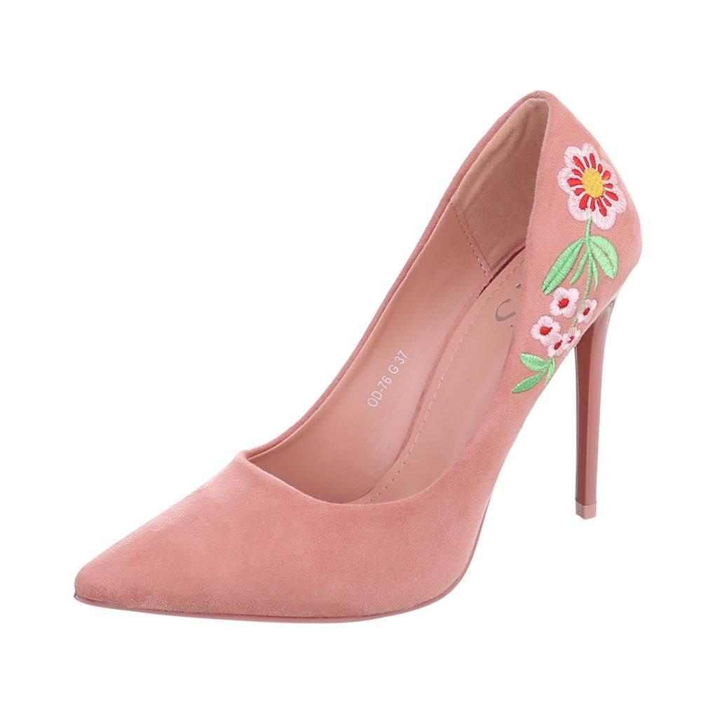 57b9dccf63f1 Dámske lodičky s výšivkou Flower TOP-OD-76-pink