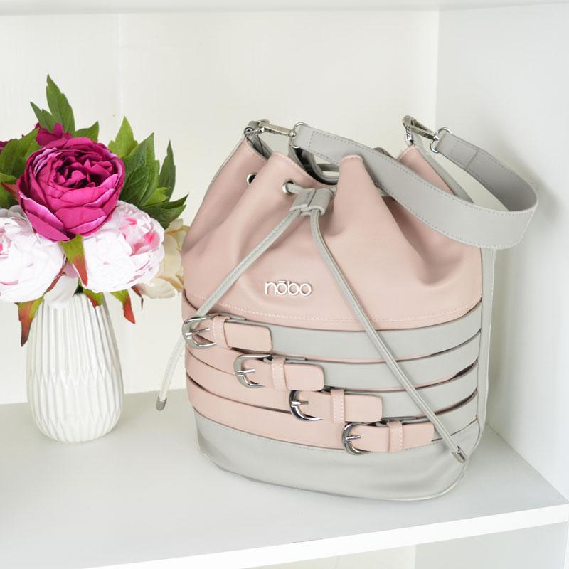 Ružovo-sivá kabelka na rameno NÓBO NBAG-C0310-C019-pink c18ab2a229d