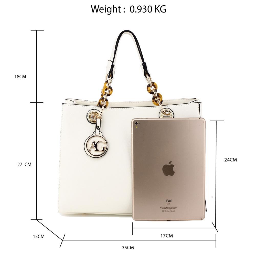 Elegantná kabelka do ruky AG00536A-white 5133527392e
