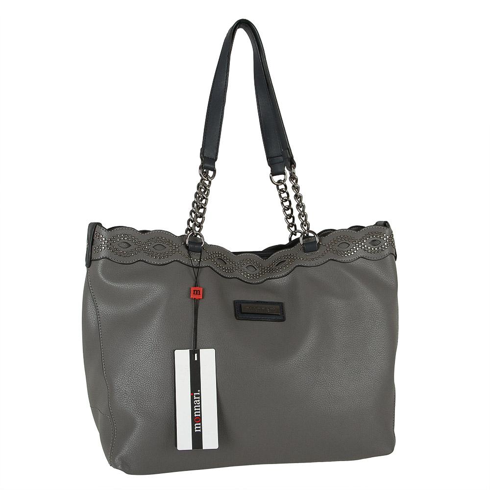 c6079393a923 Vybíjaná kabelka na rameno Monnari MON-B310-019-grey