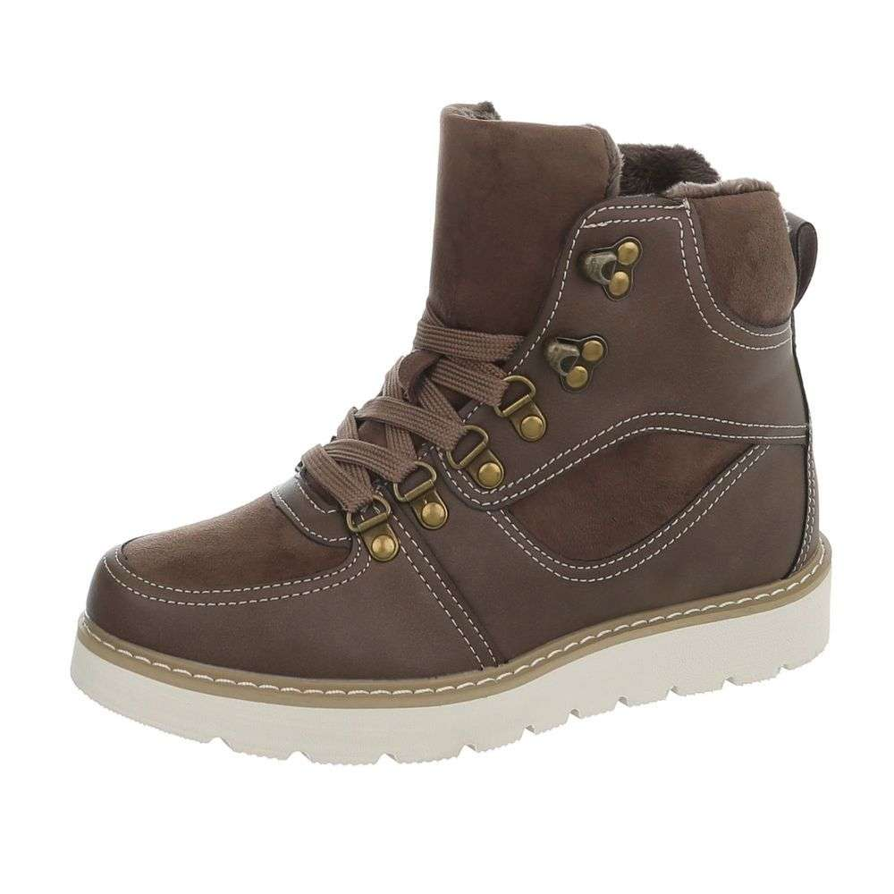 Sivo-hnedé zateplené topánky TOP-769-PA-khaki 0003b2fbd81