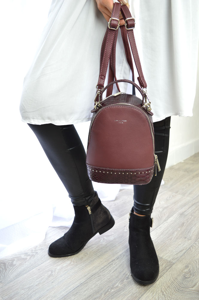Mini vačik / crossbody kabelka David Jones CM5825-2-burgundy