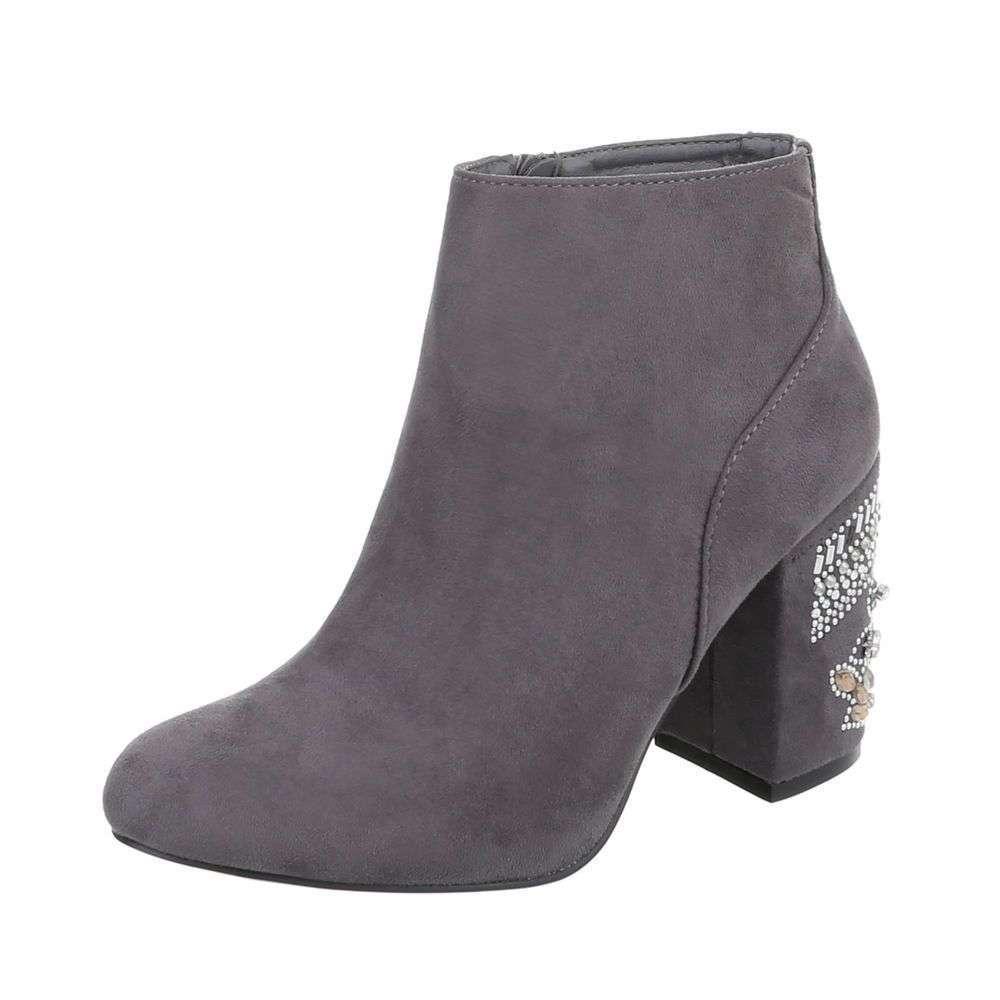 72af9660c3 Členkové topánky s kamienkami na opätku TOP-V-1-1-grey