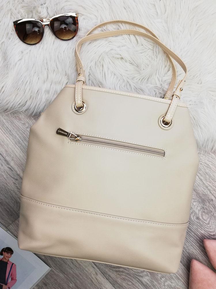4c98fd1541 Béžová kabelka na rameno s logom Monnari MON-1900-015-beige
