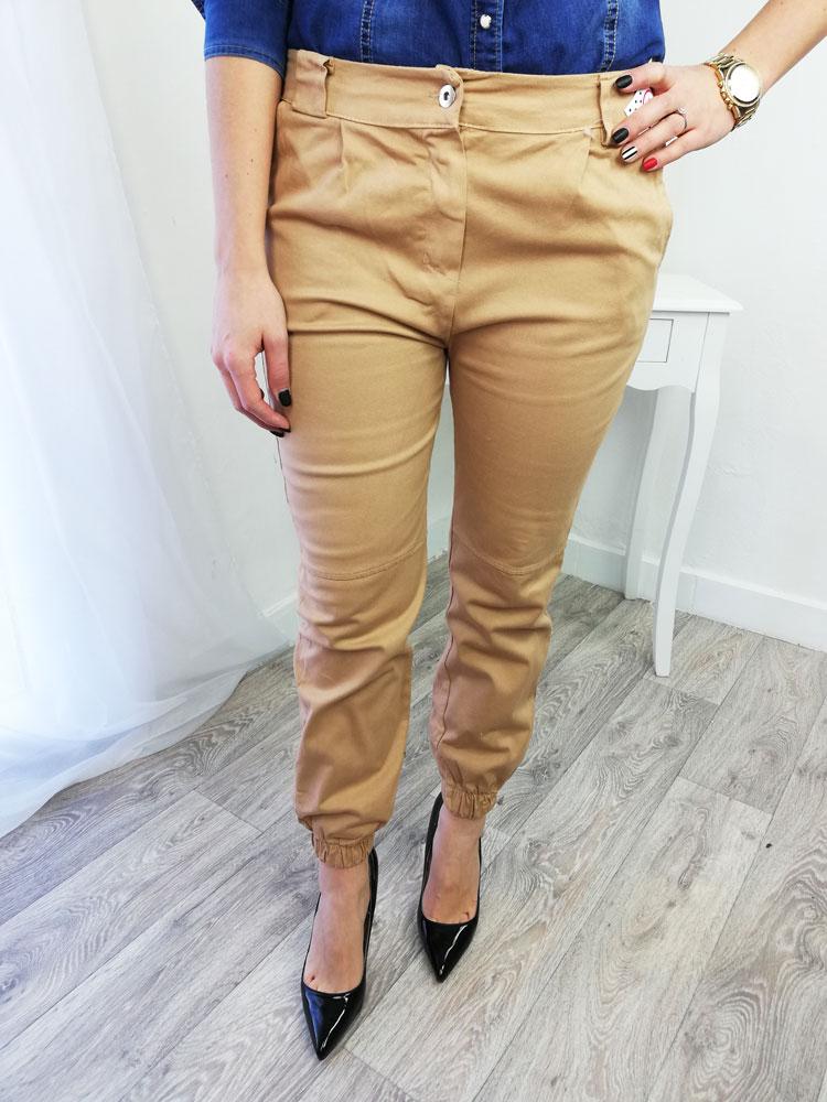 ea09191d0c01 Bavlnené dámske nohavice NK-STREET1-brown