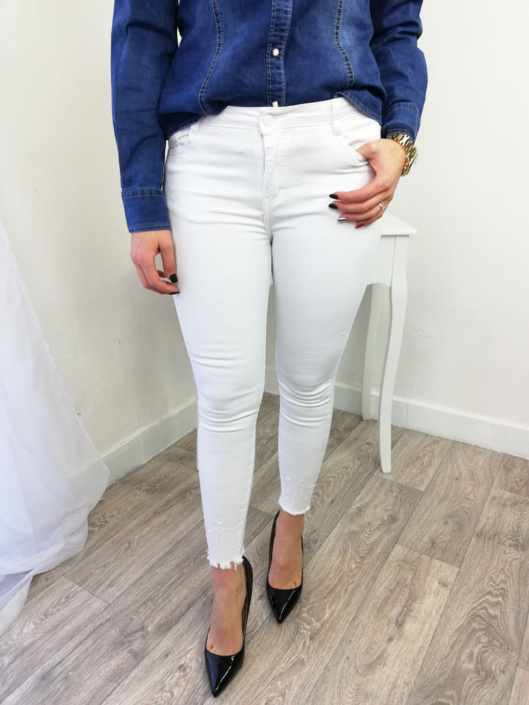 0aeb9d1aa300 Biele bavlnené jeansové nohavice NK-BM44-1-white