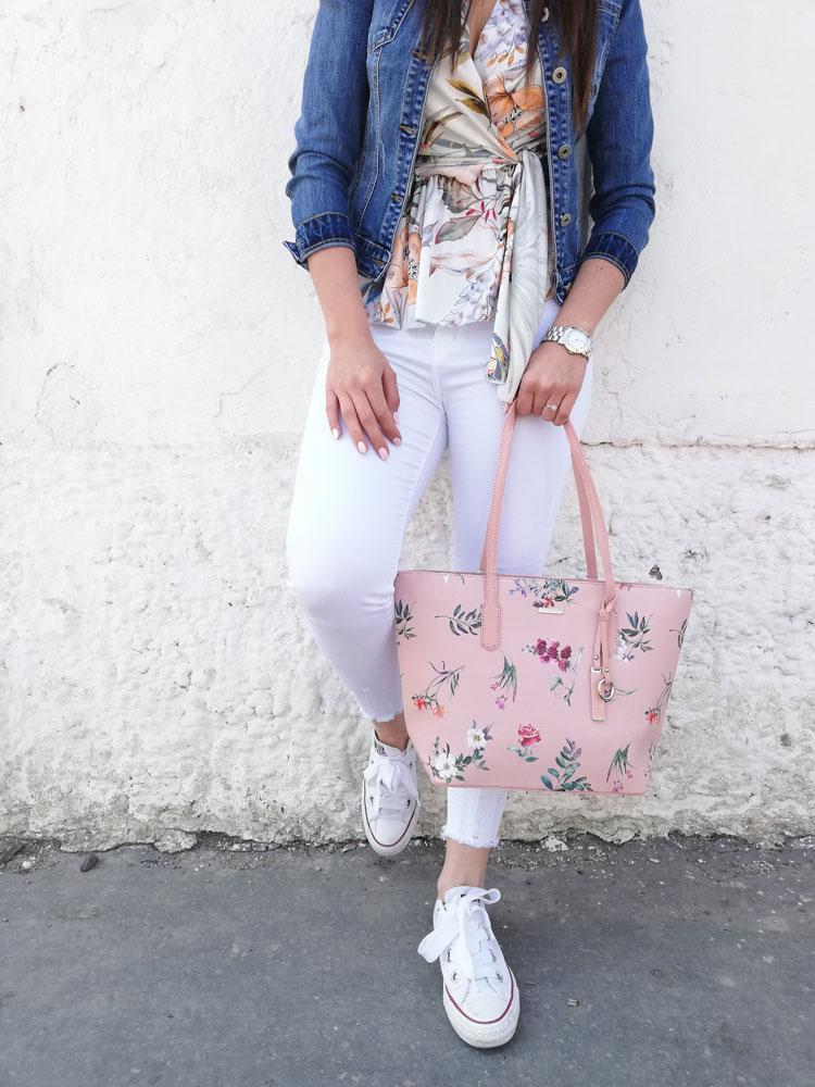 6b794c1b5e Kvetovaná kabelka na rameno David Jones CM-5996-4-pink