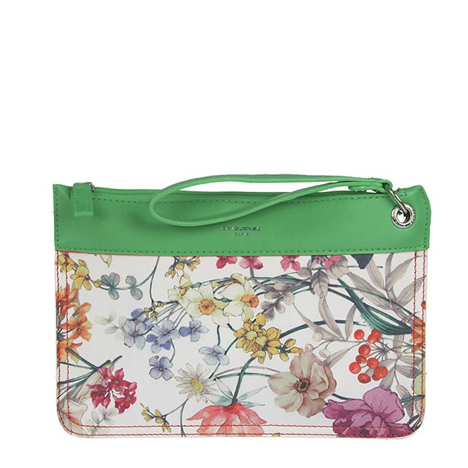 Kvetovaná crossbody listovka David Jones CM-5187-green