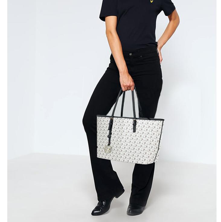 cbc1d36f50 Shopper kabelka so štýlovou potlačou AG00297P-white