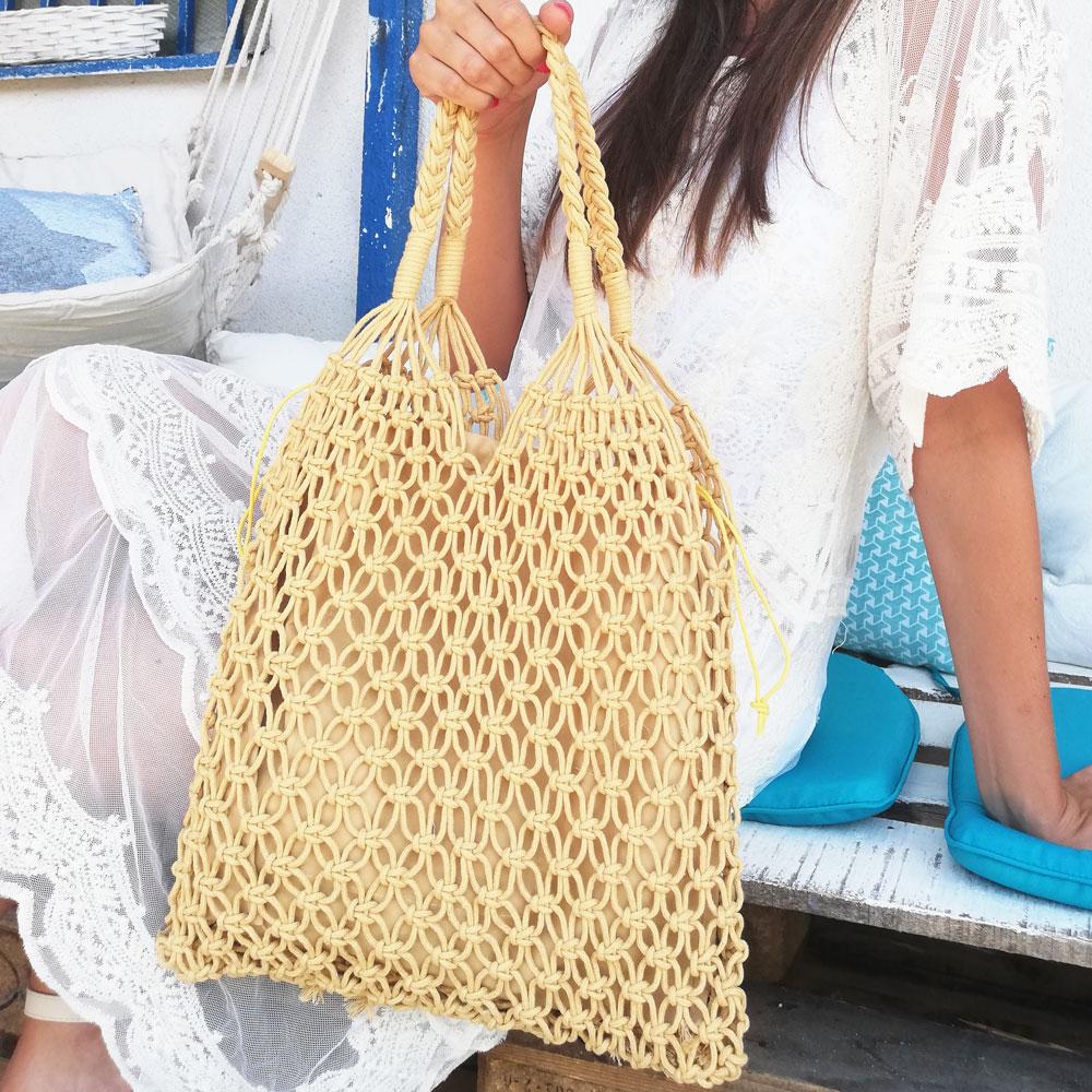 4b082d1073 Bavlnená pletená taška WE-19159-miel
