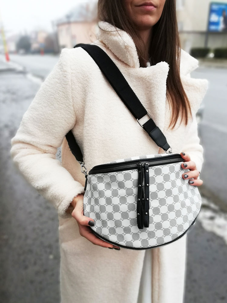 Vzorovaná crossbody kapsička WE-HB80-4-white/black