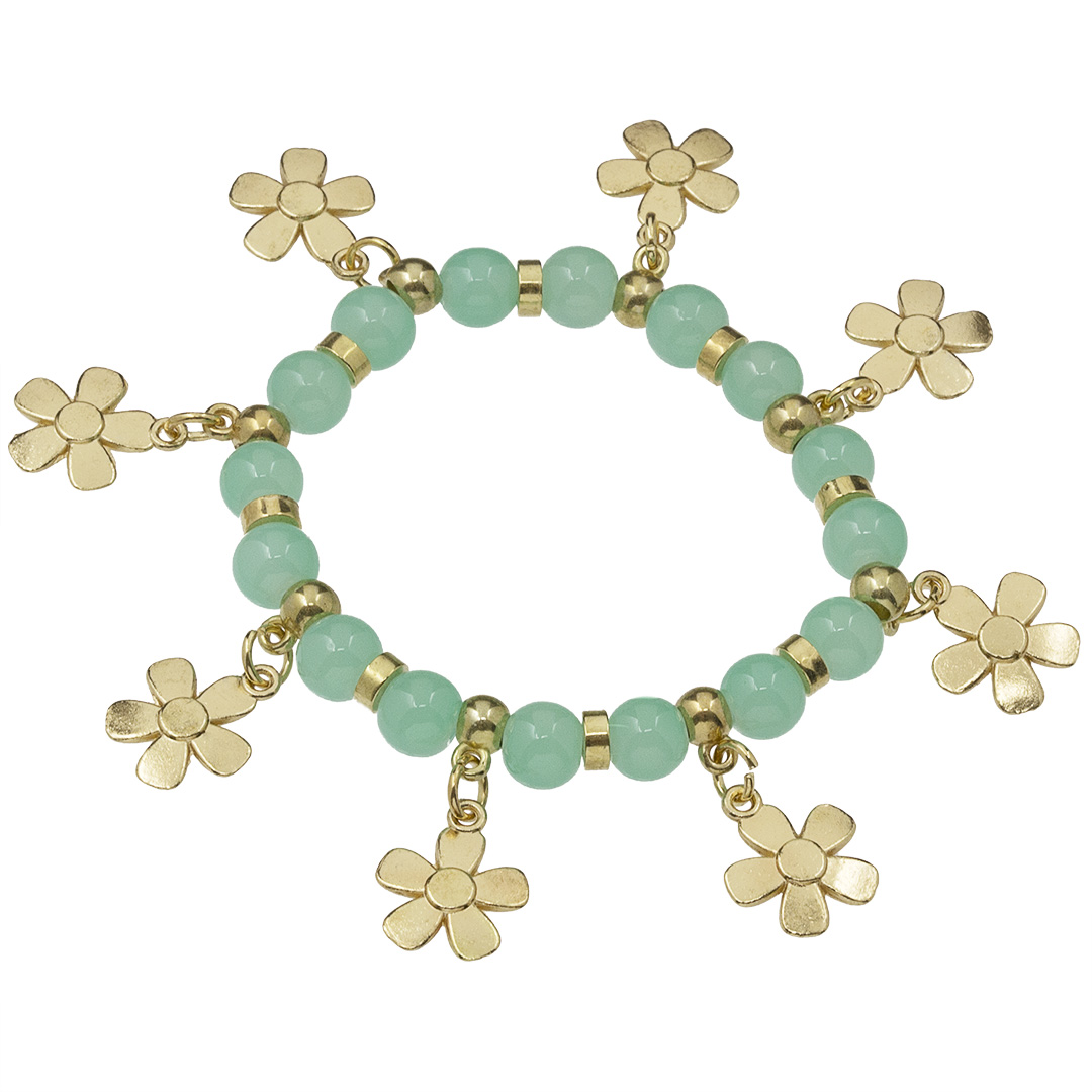 Náramok Gold Flower BZ10199-2-teal