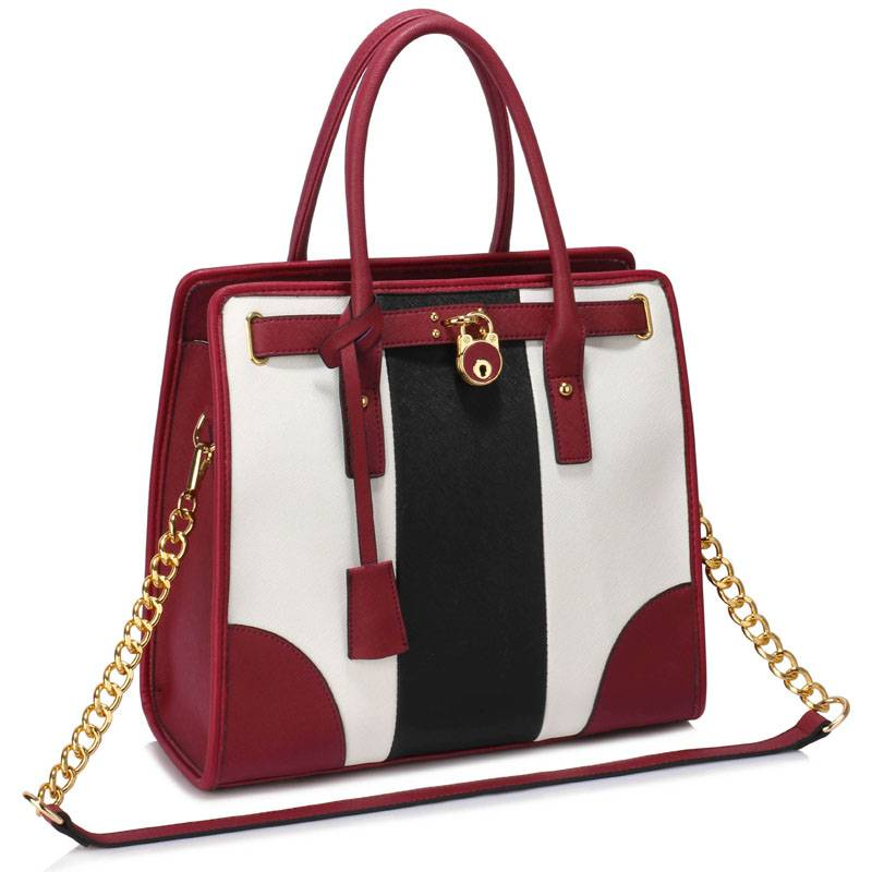 VIP kabelka do ruky DK00336b-black/white/burgundy