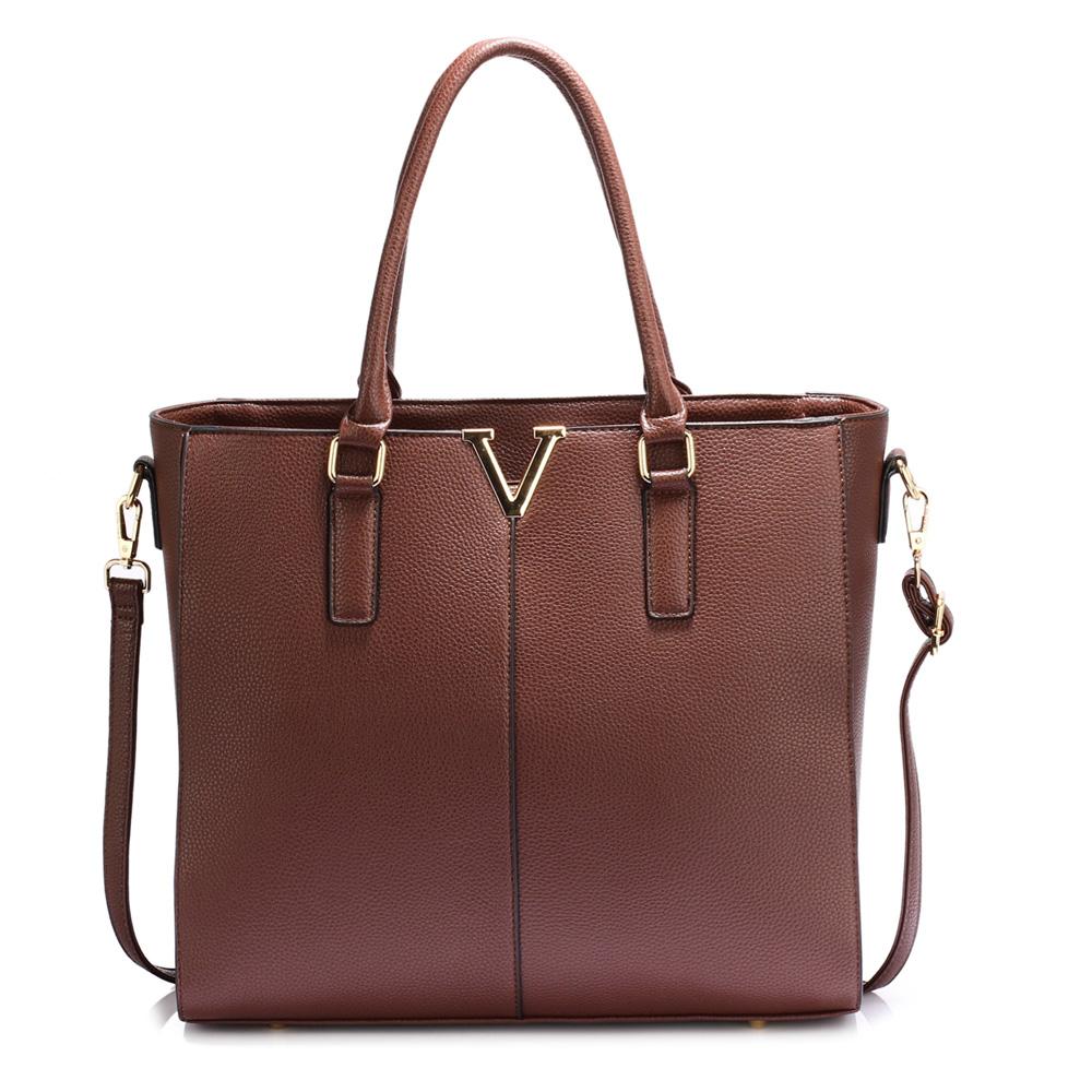 Tmavohnedá shopper kabelka na rameno DK00420-coffee 1419c7236e0