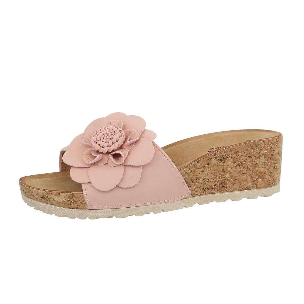 c796221a2545 Pohodlné dámske šľapky s kvetom TOP-3527-9-pink