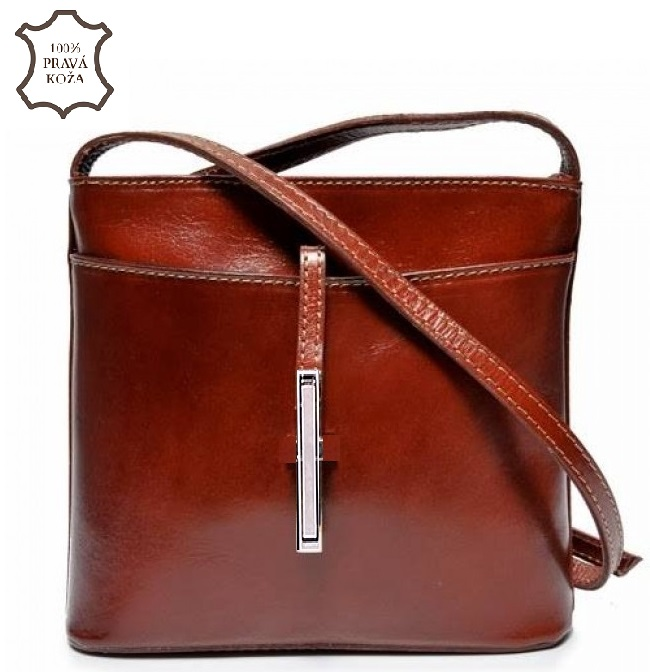 Kožená crossbody VERA PELLE S0143-darkbrown