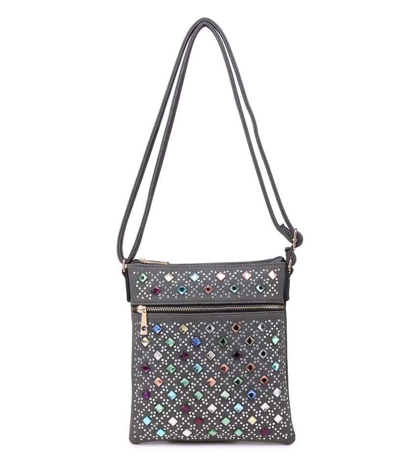 Sivá diamantová crossbody DKM-34564-grey