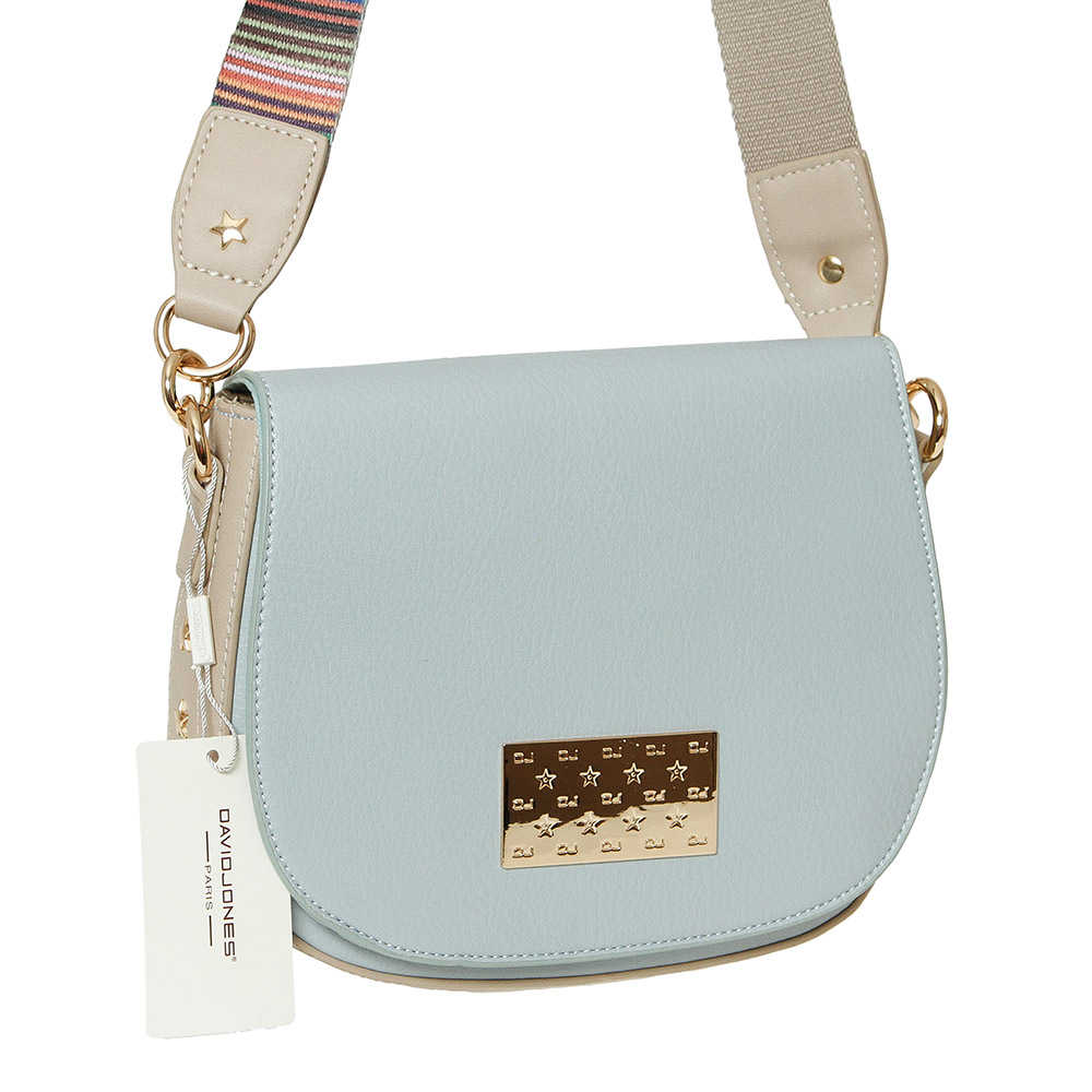 Modro-hnedá crossbody kabelka na rameno David Jones CM5543-2-pale blue/camel
