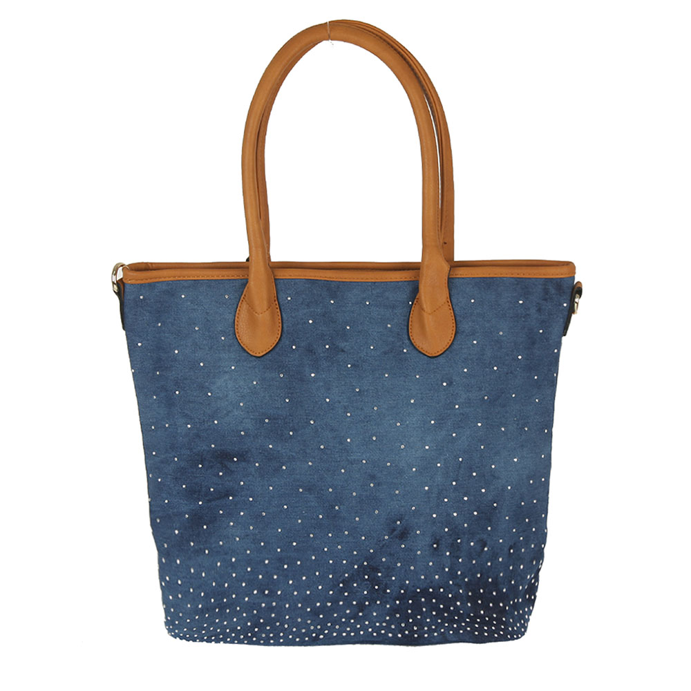 Hnedo-modrá shopper kabelka na rameno WE-181-blue/brown