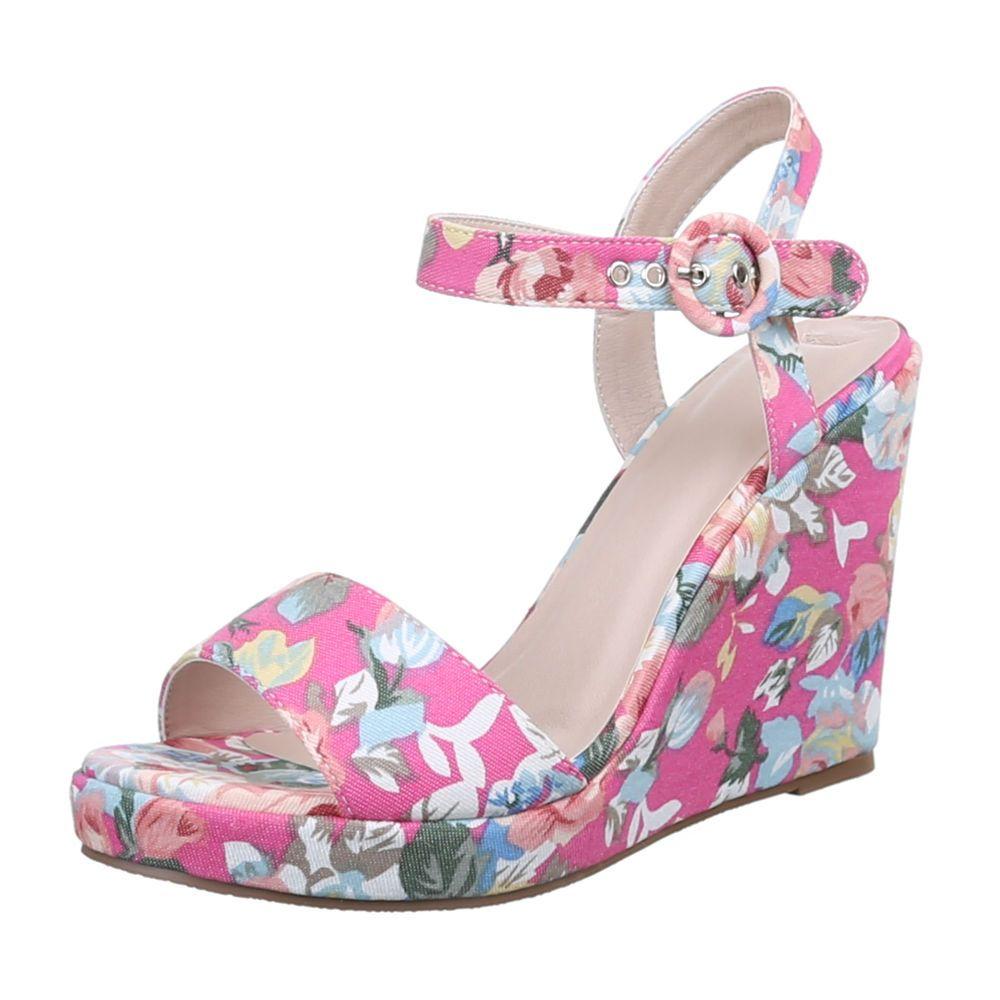 d933757871c5 Kvietkované sandále na platforme TOP-1417-KL-fuchsia