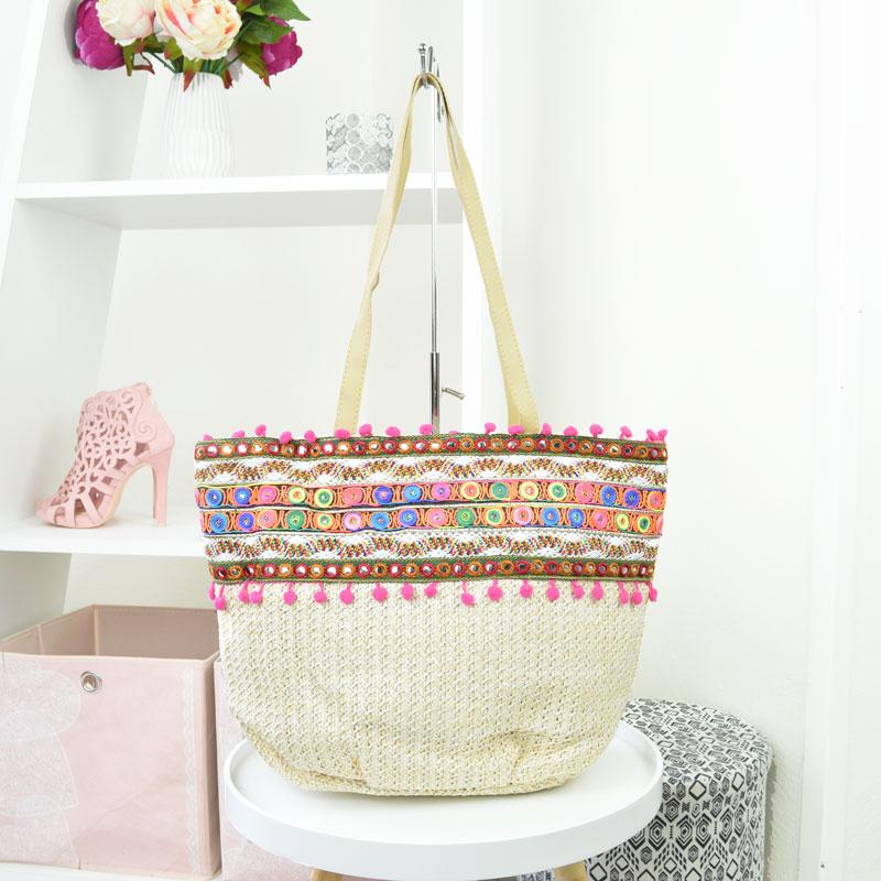 Kombinovaná slamená kabelka WE-5042-3-beige empty 36efcb115a2