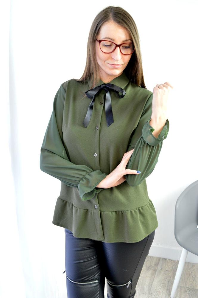 5379fddbc64b Blúzka s mašľou NK-1323-green