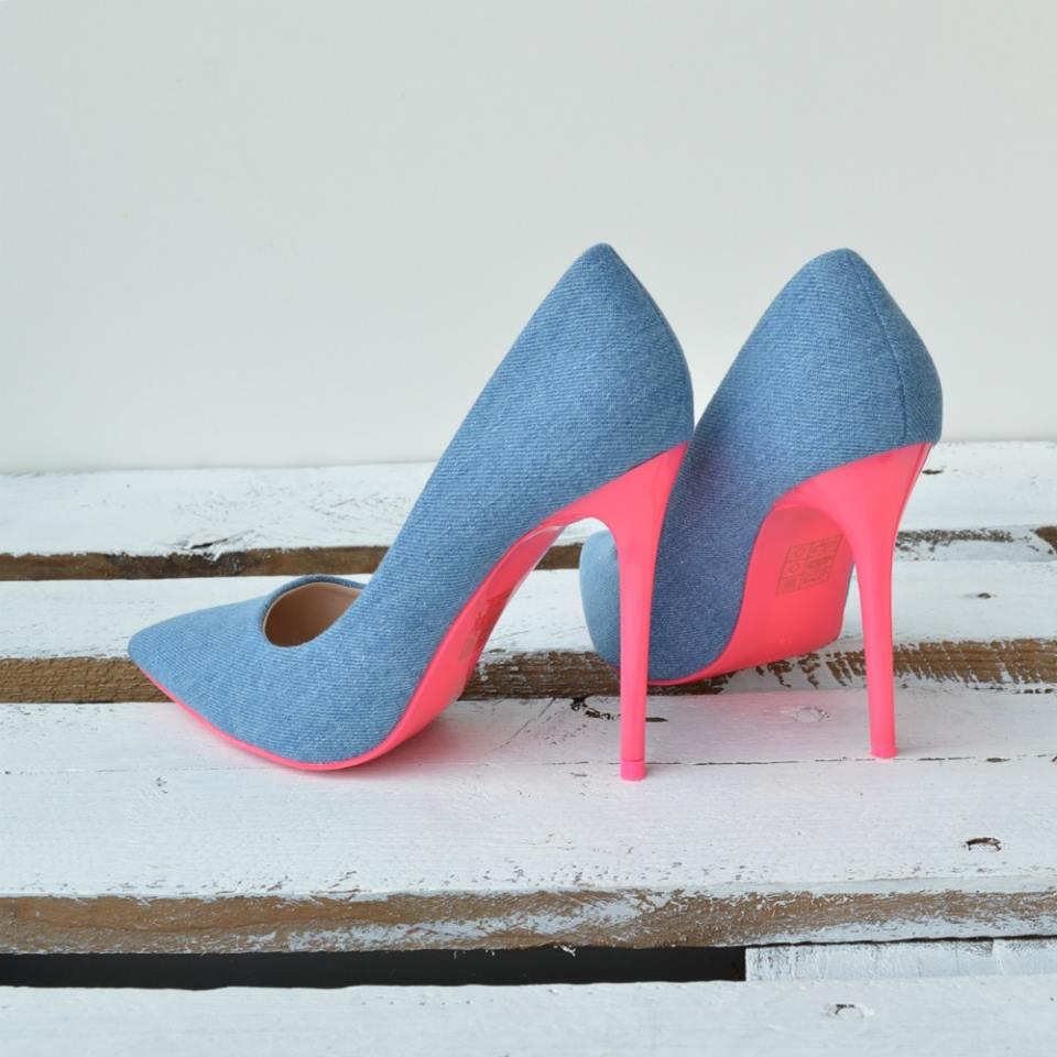 56e8e618c Jeansové dámske lodičky TOP-5015-86B-bluepink