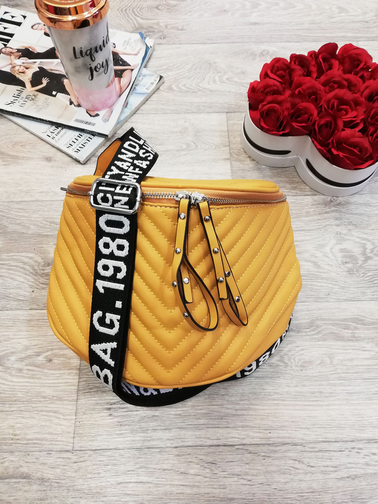 Žltá prešívaná crossbody kapsička WE-D-6020-5-yellow