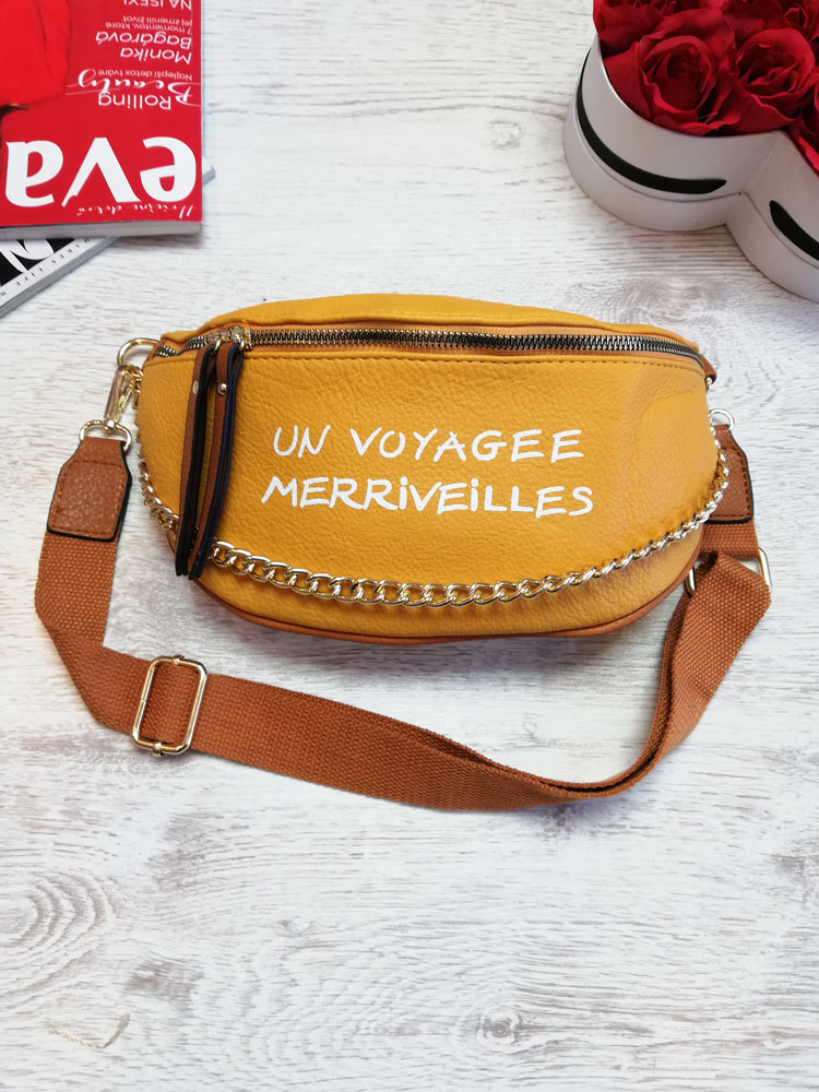Žlto-hnedá crossbody kapsička WE-HB94-155-yellow/brown