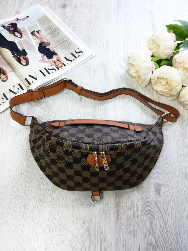 Vzorovaná crossbody kapsička WE-HB93-2-195-brown/brown