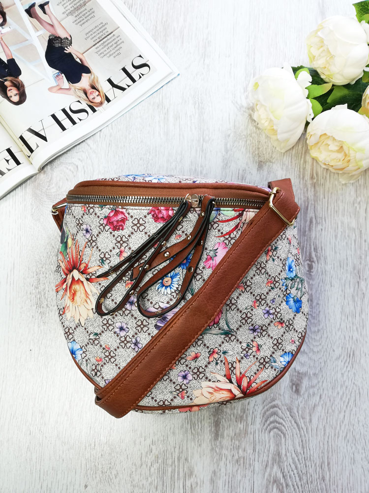 Kvetovaná crossbody kapsička WE-7018-brown
