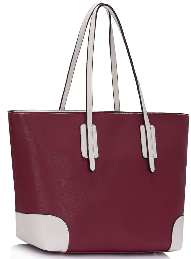 Shopperka na rameno 0088A-burgundy/white