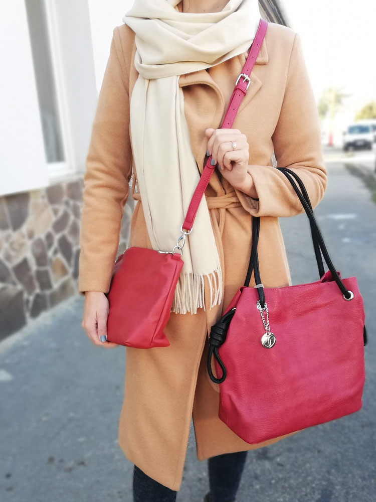Shopper kabelka 2v1 VSGL-7535-74-red