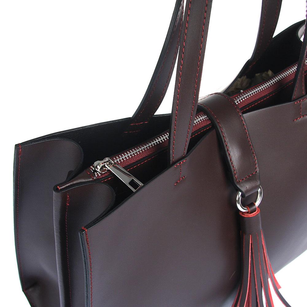 9deabb2ce7 Kožená biznis kabelka so strapcom S0704-bordo